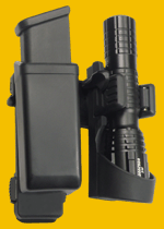 Double holders for magazine and tactical flashlight (holder LHU)